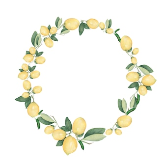 Hand drawn  watercolor round wreath of lemon.