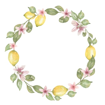 Hand drawn watercolor round wreath  with lemon.