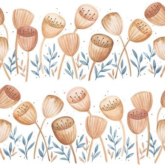 손으로 그린 수채화 완벽 한 패턴입니다. 추상 특별한 야생 꽃 배경, 부드러운 인쇄