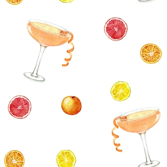 Hand drawn watercolor seamless pattern summer fresh cocktails and citruses.