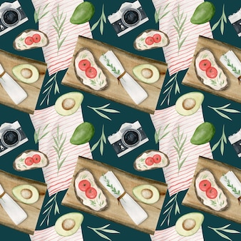 Hand drawn watercolor seamless pattern of summer picnic elements