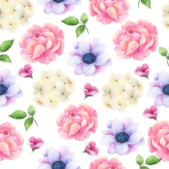 Hand drawn watercolor seamless pattern with flowers.