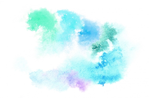 Hand drawn watercolor shape in cold tones for your design. creative painted background, hand made decoration