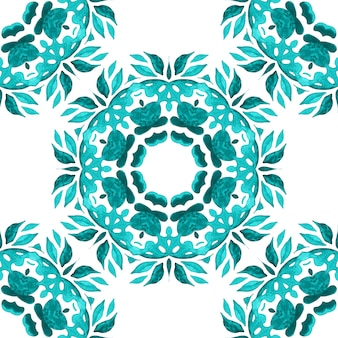 Hand drawn watercolor tile seamless ornamental paint pattern.