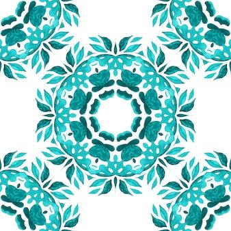 手描きの水彩タイルのシームレスな装飾用ペイントパターン。