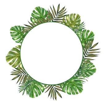 Hand drawn watercolor tropical wreath with palm leaves and monstera.