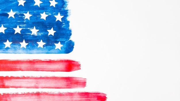 흰색 바탕에 손으로 그린 수채화 미국 국기