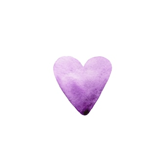 Hand drawn watercolor violet heart on white background.