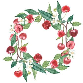 桜と葉の花の手描き水彩花輪