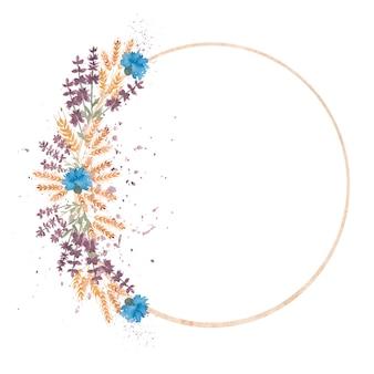 手描き水彩の黄色い小麦の耳とコーンフラワーリースラウンド形状illustration.y招待状。