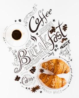 Hand drawn завтрак надпись типография