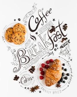 Hand drawn завтрак надписи типографии с классическими фразами в винтажной композиции.