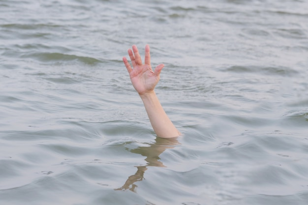Hand drowning in the sea