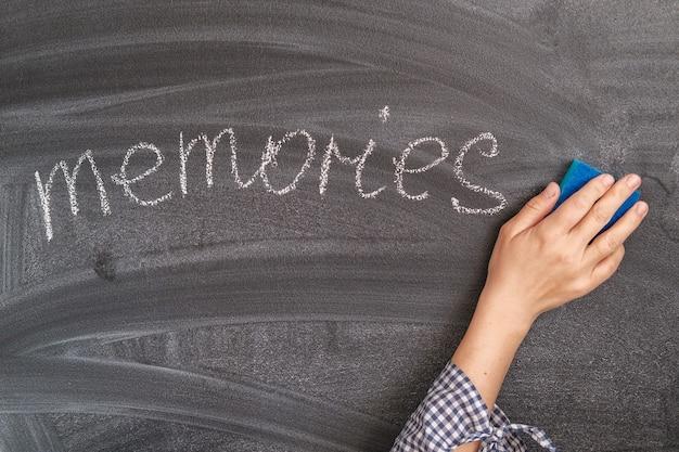 手は黒板にチョークで碑文の記憶を消去します