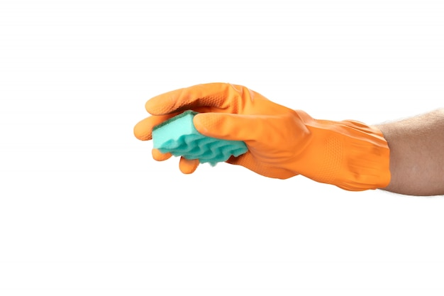 Hand gesture cleaning, rubber orange glove, for home, garden, protection. white isolate background.