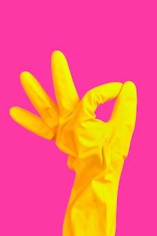 黄色のゴム手袋で手振りok
