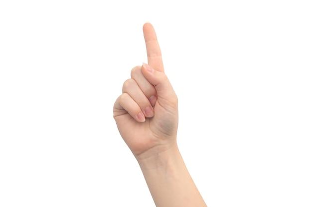 上向きの手のジェスチャー、白い背景で隔離、若い女性の手のクローズアップ