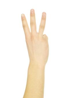 손 제스처는 흰색 절연