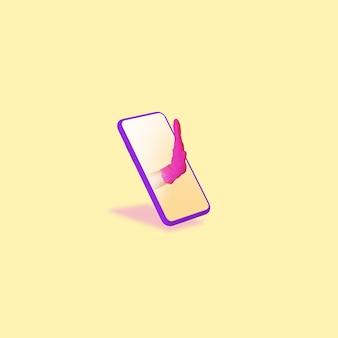 携帯電話の画面を介して手振り