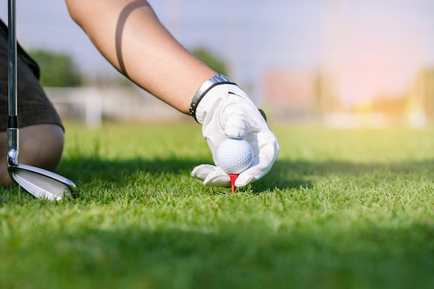 Hand in glove placing golf ball on tee in course