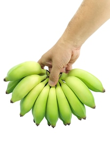 Hand grabbing pisang awak banana, kluai nam wa