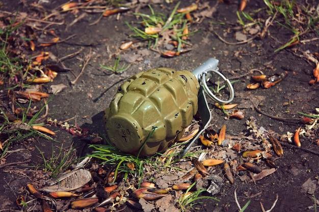 Ручная граната-граната, лежащая на земле.