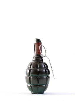 Hand grenade powerful mass destroying weapon with brown lever