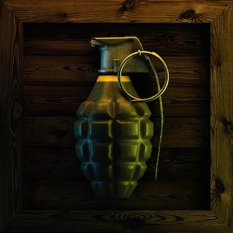 Hand grenade on wood. 3d render