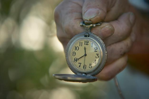 時計用のハンドヘルドヴィンテージ懐中時計。時の流れと、いつも多くの人が抱える慌ただしさの象徴。