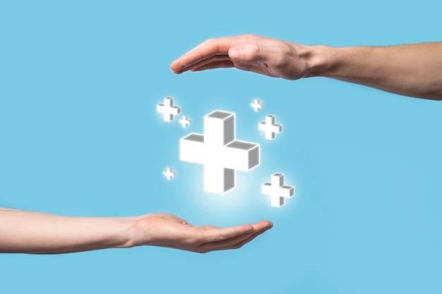 손을 잡고 3d 더하기 아이콘, 손에 잡고있는 사람은 이익, 혜택, 개발, csr과 같은 긍정적 인 것을 더하기 기호로 표시합니다.