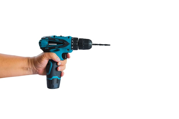 작업자 장치 도구 용 무선 드릴을 손으로 잡습니다.