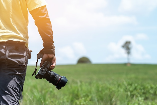 Hand hold camera with nature view