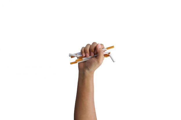 Hand hold cigarette for save lives