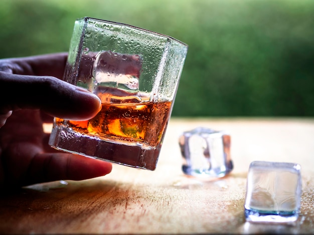 Hand hold the cool whiskey glass with nature background