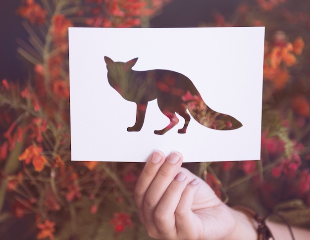 Hand hold fox paper carving with flower background