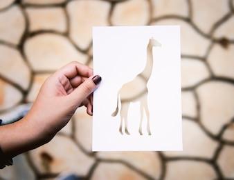 Hand Hold Giraffe Paper Carving
