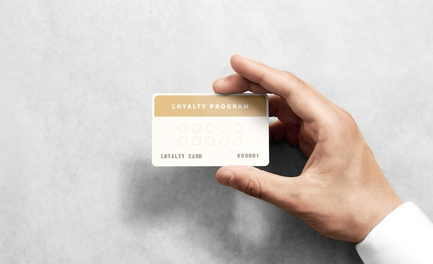 Hand hold loyalty card template with rounded corners