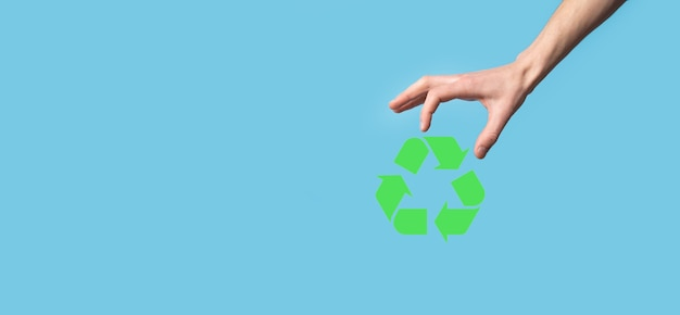 Hand hold recycling icon.