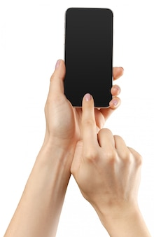 Hand hold smartphone mobile isolated on white