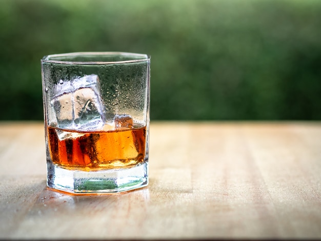 Hand hold whiskey glass with nature background
