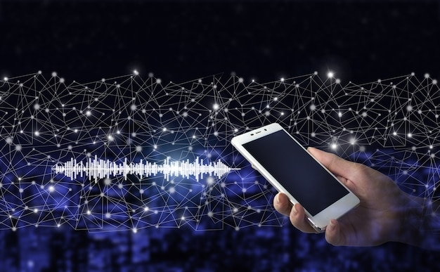 Hand hold white smartphone with digital hologram sound track, wave sign on city dark blurred background. listening to music on mobile devices. voice recognition.