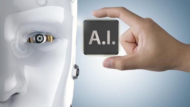 Рука 3d-рендеринга ai cpu chip с роботом