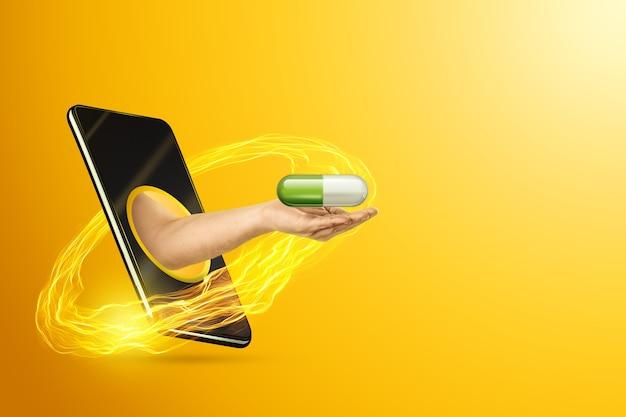 Рука держит таблетку через смартфон