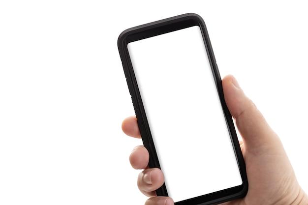 Рука смартфон с пустой белый экран, изолированные на. макет. копировать пространство
