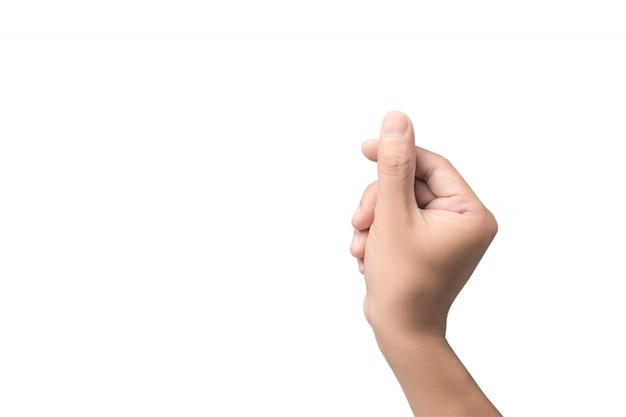 Рука с виртуальной картой пальцами на белом фоне