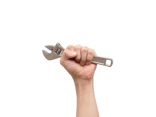 흰색 격리된 배경에 조정 가능한 렌치를 들고 있는 손, 노동 도구 기술자