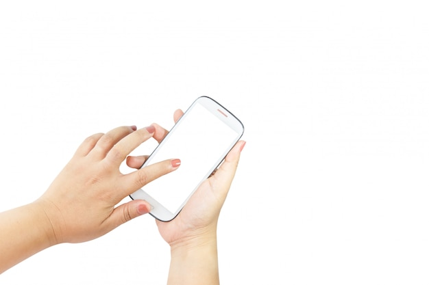 Hand holding big touchscreen smart phone isolated
