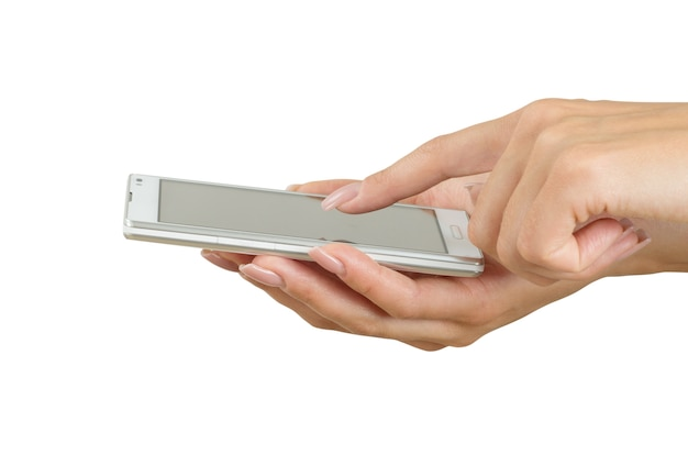 손을 잡고 큰 터치 스크린 스마트 폰