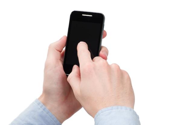 큰 터치스크린 스마트폰을 들고 있는 손