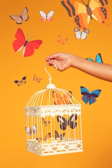 Hand holding a bird cage with iconos butterflies
